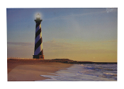 LED Lighted Lighthouse Scene Canvas Wall Print