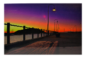 LED Lighted Sunset Boardwalk Scene Canvas Wall Print