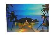 LED Lighted Bungalo Scene Canvas Wall Print