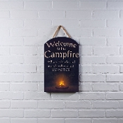 Welcome to the Campfire LED Lighted Wall Canvas Artwork