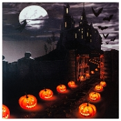 Halloween Jack O Lanterns Leading to Haunted House LED Canvas
