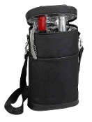 Picnic Gift - Brandy Insulated Two Bottle Wine Duffel in Black