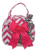 Vivajennz Chevron Wine Purse, Hot Pink Chevron and Black Flowers