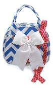 Vivajennz Chevron Wine Purse, Sky Blue Chevron