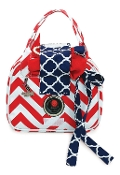 Vivajennz Chevron Wine Purse, Red Chevron and Navy Link