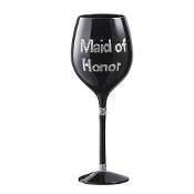 Maid of Honor Black Wine Glass By Ganz