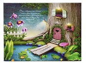 "10"" LED Lighted Canvas Wall Art with Fairy Garden House"