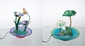Metal and Glass Pond and Lilly Style Indoor Fountain