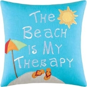 Beach Therapy Embroidered Pillow, 16""