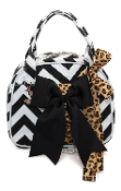 Vivajennz Charlene Chevron Wine Purse, Black Chevron and Leopard