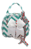 Vivajennz Heathe Chevron Wine Purse, Aqua Chevron & Orange Dots