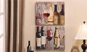 "20"" Wine Bottle Art with Red and White Wine, Set of Two"