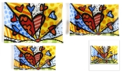 Romero Britto Painted Glass Plates, A New Day Design, Set of 3