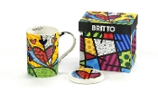 Romero Britto Gift Boxed New Bone China Mug with Lid - A New Day