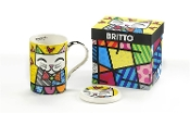 Romero Britto Gift Boxed New Bone China Mug with Lid - Cat
