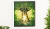 "16"" LED Lighted Canvas Wall Art with Enchanted Tree House"