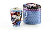 Romero Britto Bone China Cat Design Mug in Gift Tin