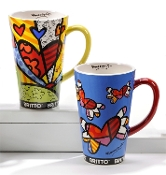 Romero Britto Ceramic Mugs, A New day or Flying Hearts Designs
