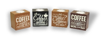 Coffee Lover Tealight Holders, Set of Four