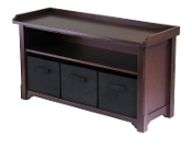 Verona Storage Bench with 3 Foldable  Black Color Fabric Baskets