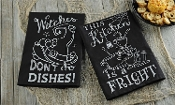Chalk Talk Cotton Halloween Design Kitchen Towel, 2/Asst.