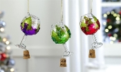 Glass Wine Glass & Cork Design Ornament, 3/Asst.