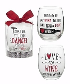 Love Wine, Stemless Wine Glasses, Set of Three
