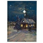 Snowy Church Canvas Radiance Lighted Wall Art