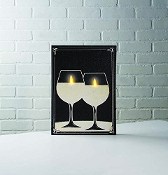 Lighted Wine Glass Candles Wall Art