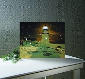 Lighted Snowy Winter Lighthouse Canvas Wall Art
