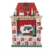 Wooden Chimney Christmas Advent Calendar with Ornaments, 15-Inch