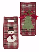 Christmas Plaid Wine Lover's Stockings, Set of Two