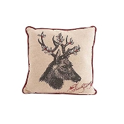 16 Inch Square Linen Pillow with Deer Motif with Holly Antlers