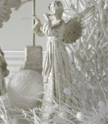 14.5 Inch White Glitter Angel With Flute