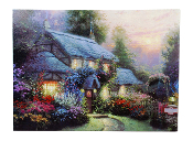 Lighted Forest Cabin With Bright Flowers
