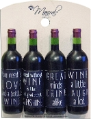 Wine Bottle Word Magnet Set Of Four