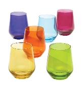 Tuscany Classics Cool Colors Stemless Wine Glass Set (Set of 6)