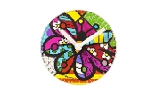 Romero Britto Glass Clock With Stand, Butterfly