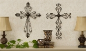 Tuscan French New Orleans Iron Scroll Cross Wall Decor
