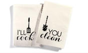 Mr. and Mrs. Kitchen Towels, I'll Cook, You Clean, Set of Two