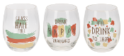 Party Central Stemless Wine Glasses, Set of Three