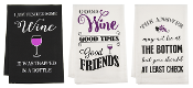 Humorous Wine Themed Kitchen Linens, Three Different Designs