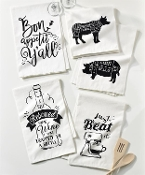 Quirky Cotton Kitchen Towels, Set of 5