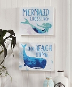 Mermaid Crossing, Beach Time Novelty Sign, 2 Different Designs