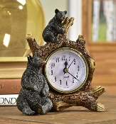 Giftcraft Polyresin Black Bears on Branch Table Clock