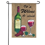 Wine O Clock Burlap Garden Flag