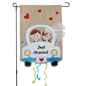 Just Married Outdoor Burlap Flag