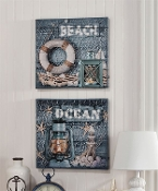 Lighted Beach Or Ocean Design Canvas Wall Print