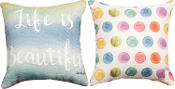 Life Is Beautiful, Rainbow Paint Spot Throw Pillow