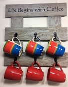 "Pallet Wood ""Life Begins with Coffee"" Rack"